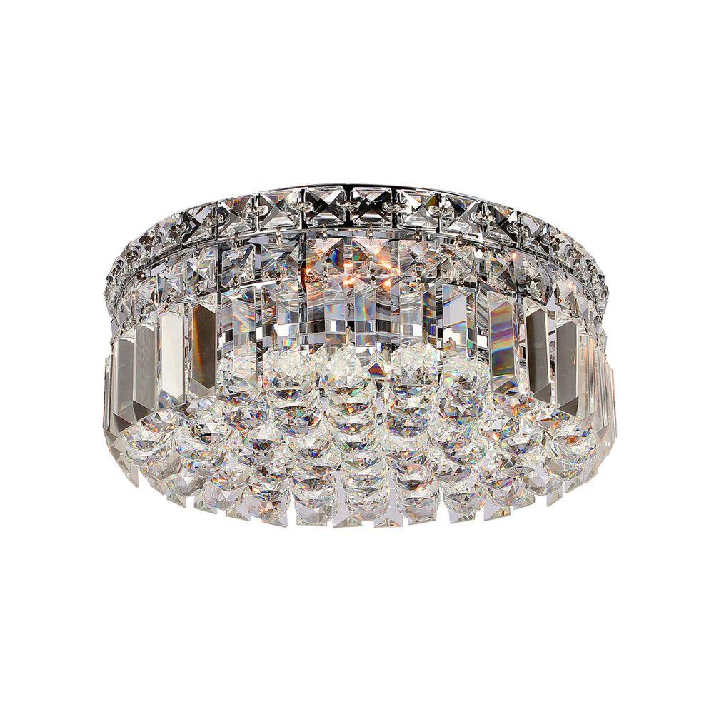 Worldwide Lighting Cascade Collection 4-Light Chrome and Crystal Flushmount