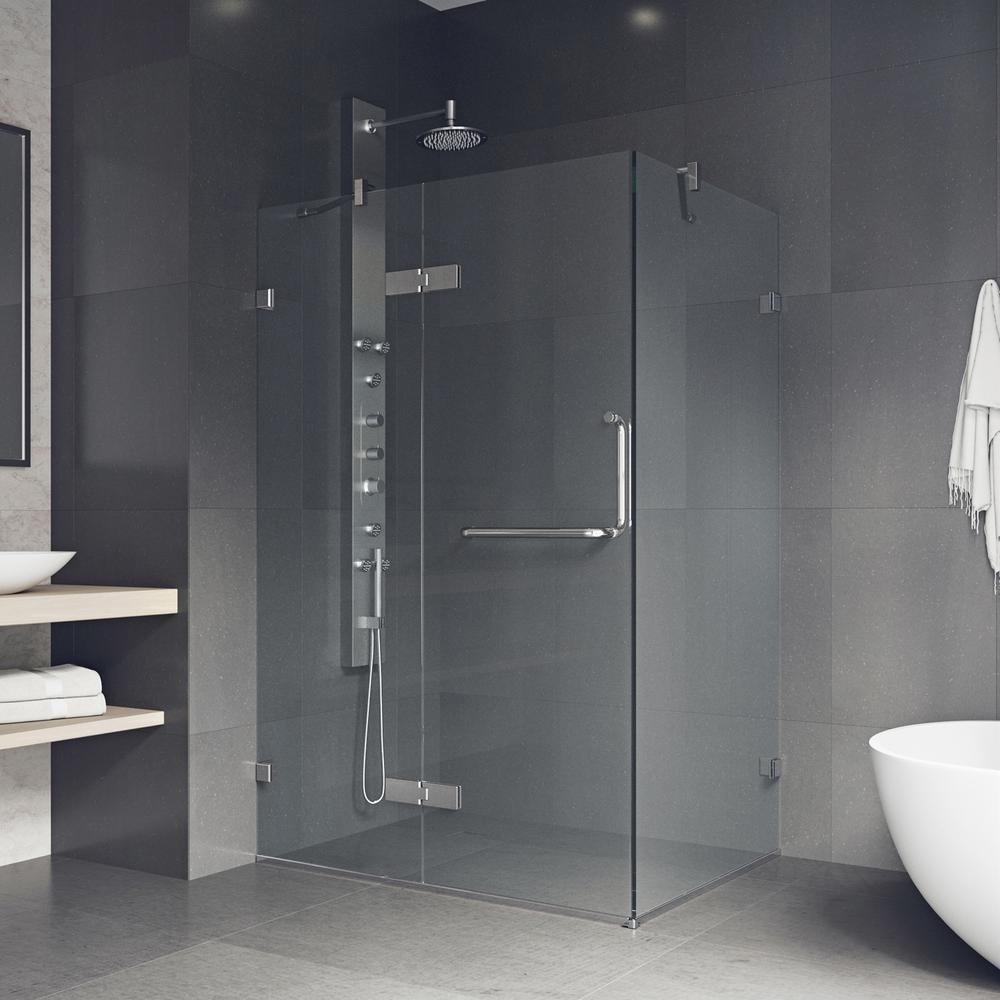 Monteray 38.25 in. x 73.375 in. Frameless Pivot Shower Enclosure in