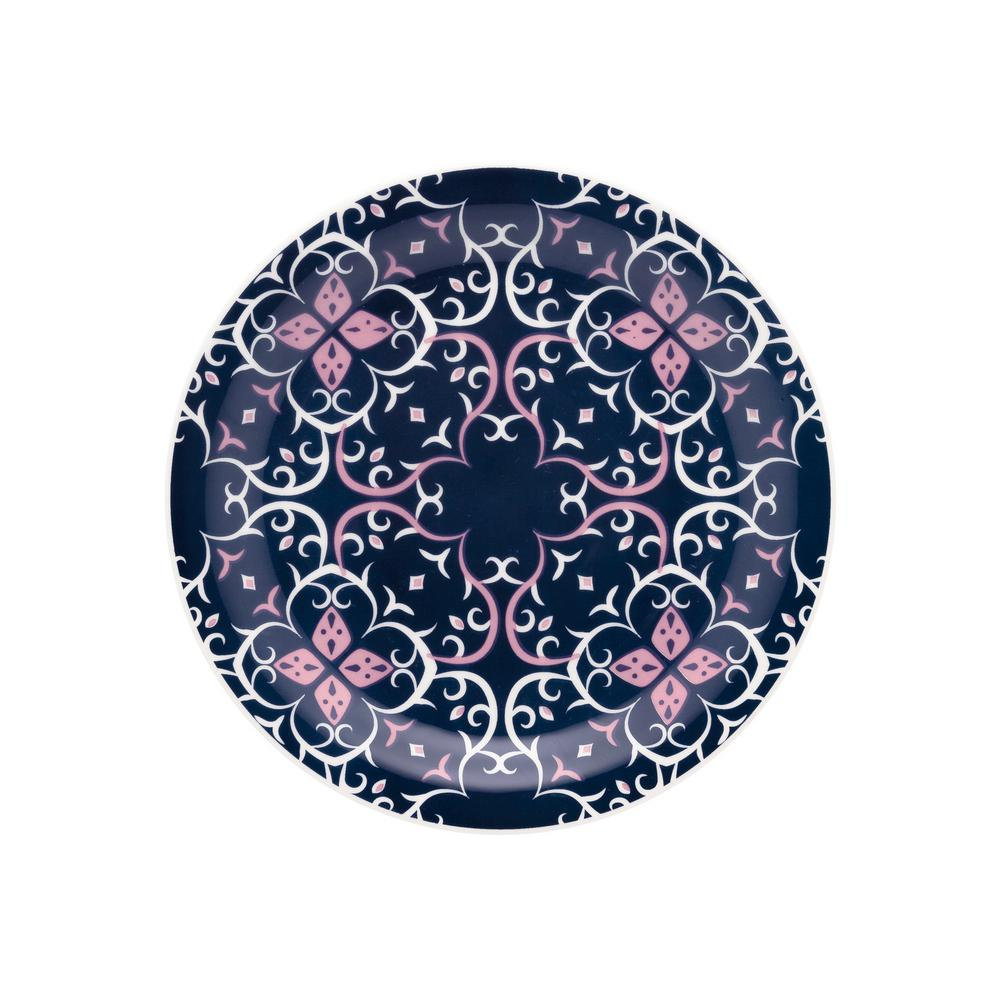 7.87 in. Floreal Blue and Pink Salad Plates (Set of 12)