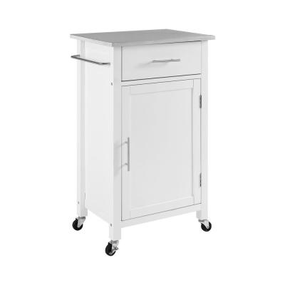 Savannah White Compact Kitchen Island with Stainless Steel Top