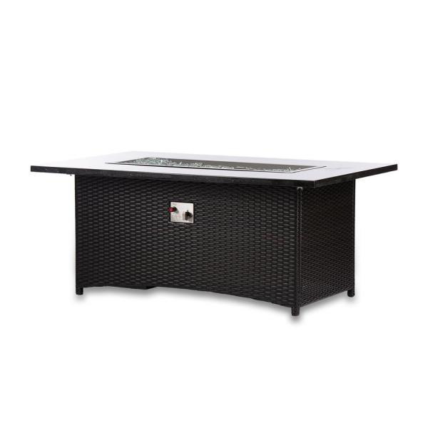 Maxwell 58 in. x 36 in. x 24 in. Rectangle Stainless Steel Propane Fire Pit Table with Cover