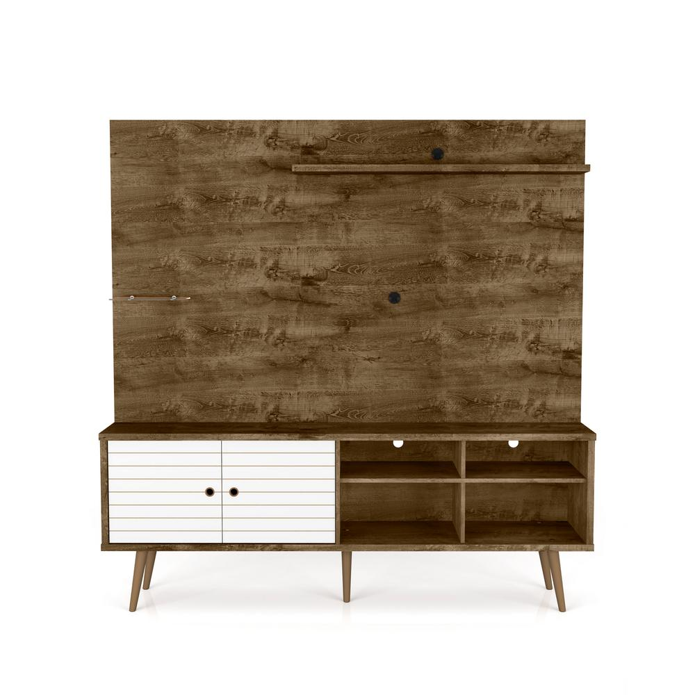 Manhattan Comfort Liberty 70 87 In Rustic Brown And White Freestanding Entertainment Center