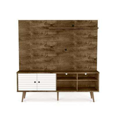 Liberty 70.87 in. Rustic Brown and White Freestanding Entertainment Center
