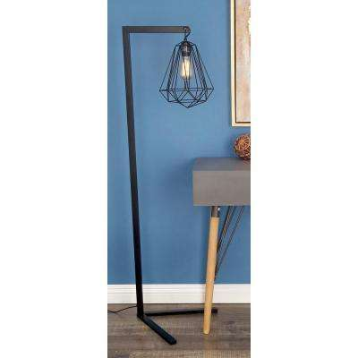 55 in. Modern Iron Diamond Prism Floor Lamp in Black