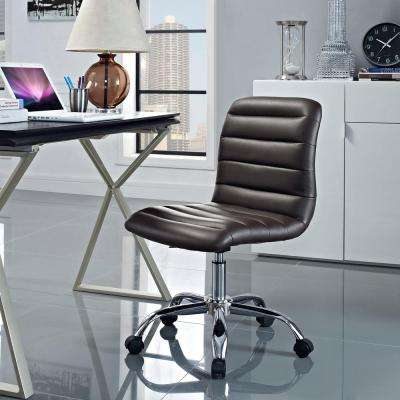 Ripple Armless Mid Back Office Chair in Brown