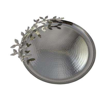 Supreme 14 in. Round Stainless Hammered Tray