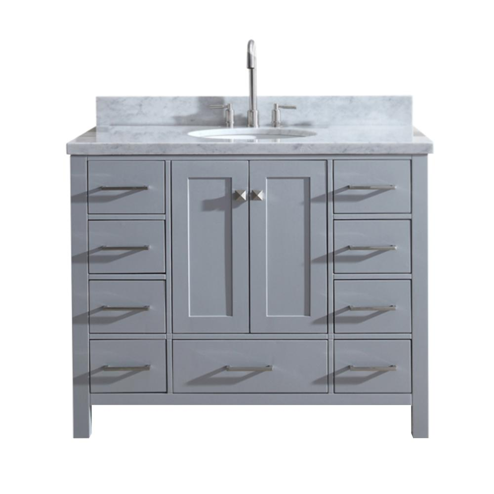 Ariel Cambridge 43 In. Bath Vanity In Gray With Marble Vanity Top In  Carrara White