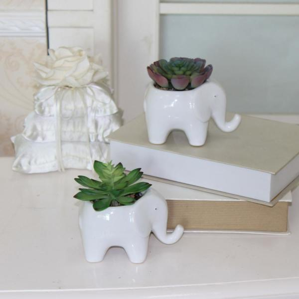 5 in. Ceramic Elephant Planter with Faux Succulent (Set of 2)