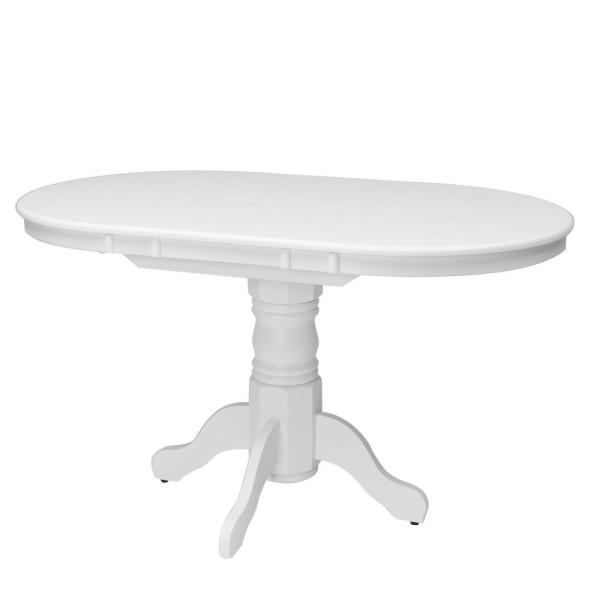 CorLiving Dillon White Wood Extendable Oval Pedestal Dining Table DSH-410-T
