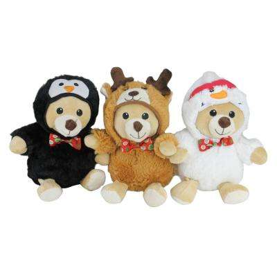 8 in. Christmas Costumes Plush Teddy Bear Stuffed Animal Figures (3-Pack)