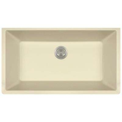 Undermount Quartz 32.625 in. 0-Hole Single Bowl Kitchen Sink in Beige