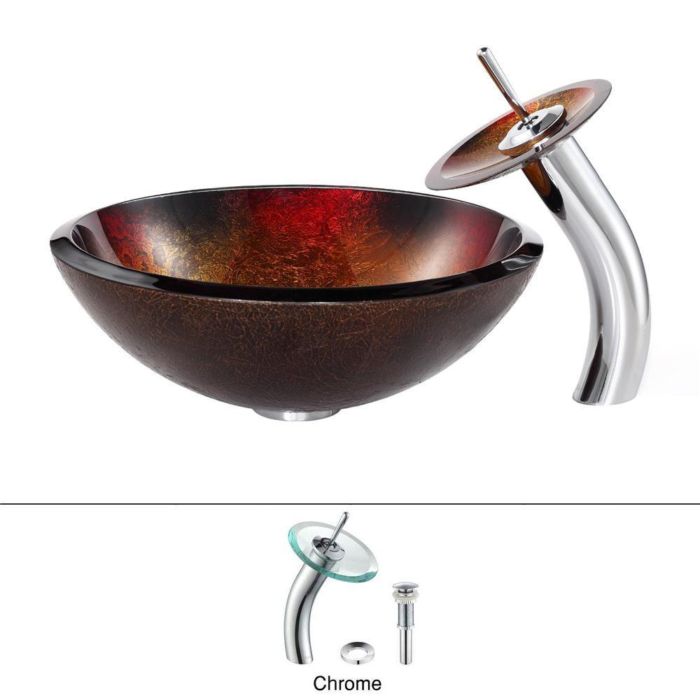 Kraus Mercury Glass Vessel Sink In Redgold With Waterfall Faucet In
