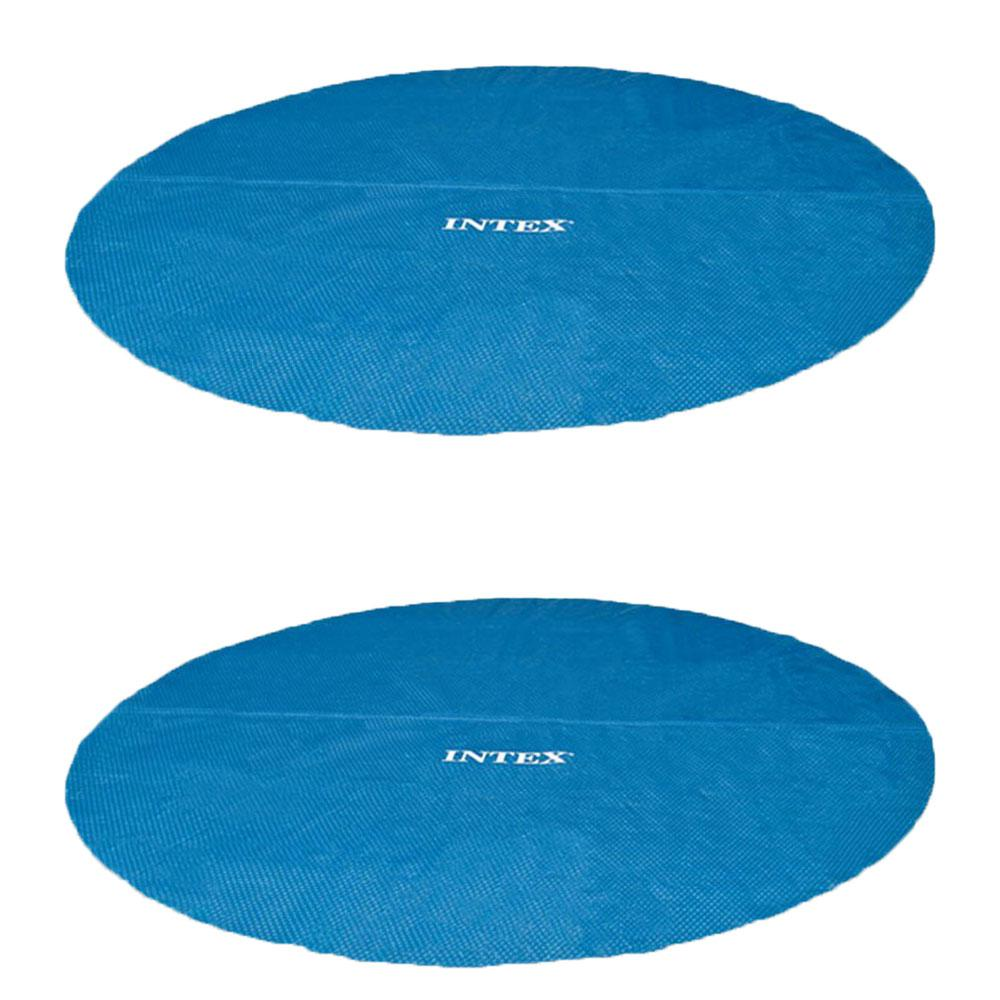 Intex Easy Set 15 ft. Round Blue Vinyl Solar Cover for Swimming Pools  (2-Pack)