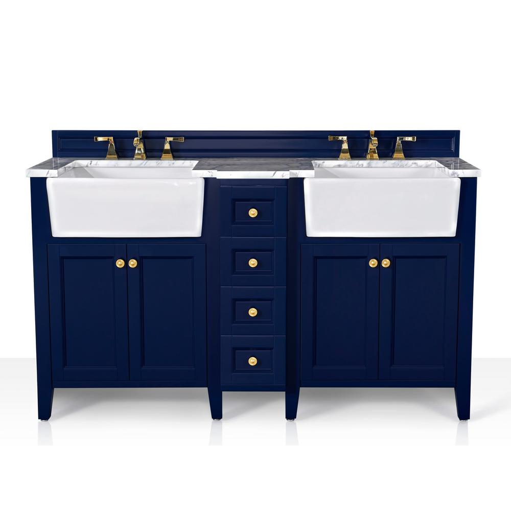 Ancerre Designs Adeline 60 in. W x 20.9 in. DBath Vanity in Heritage Blue with Marble Vanity Top in Carrara White with White Basin