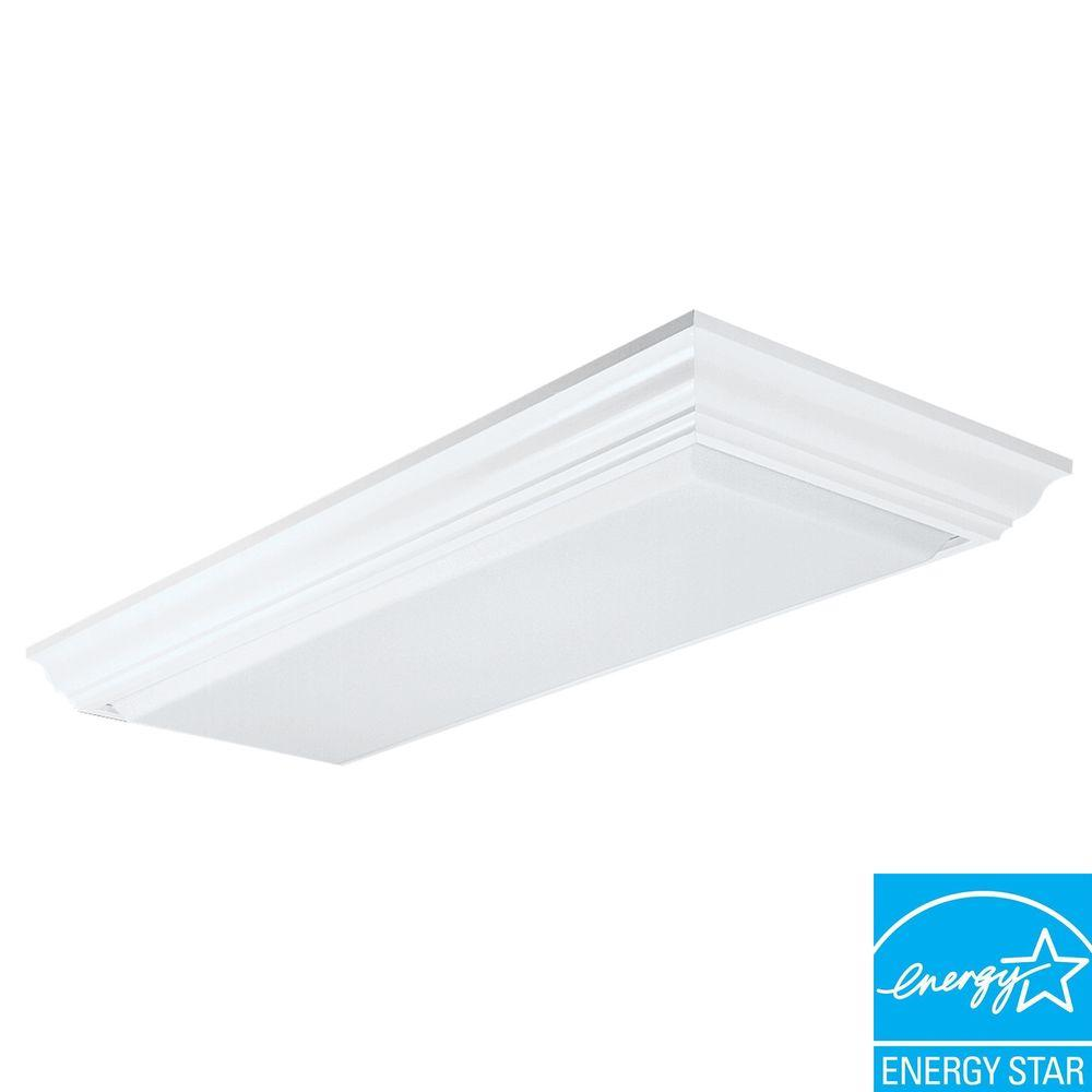 4 Light Wood Fluorescent Ceiling Fixture