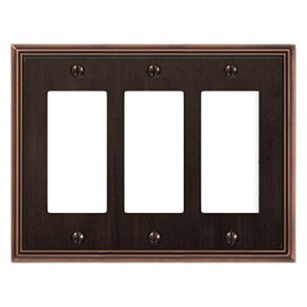Creative Accents Metro Line 3 Decorator Wall Plate - Antique Bronze-DISCONTINUED