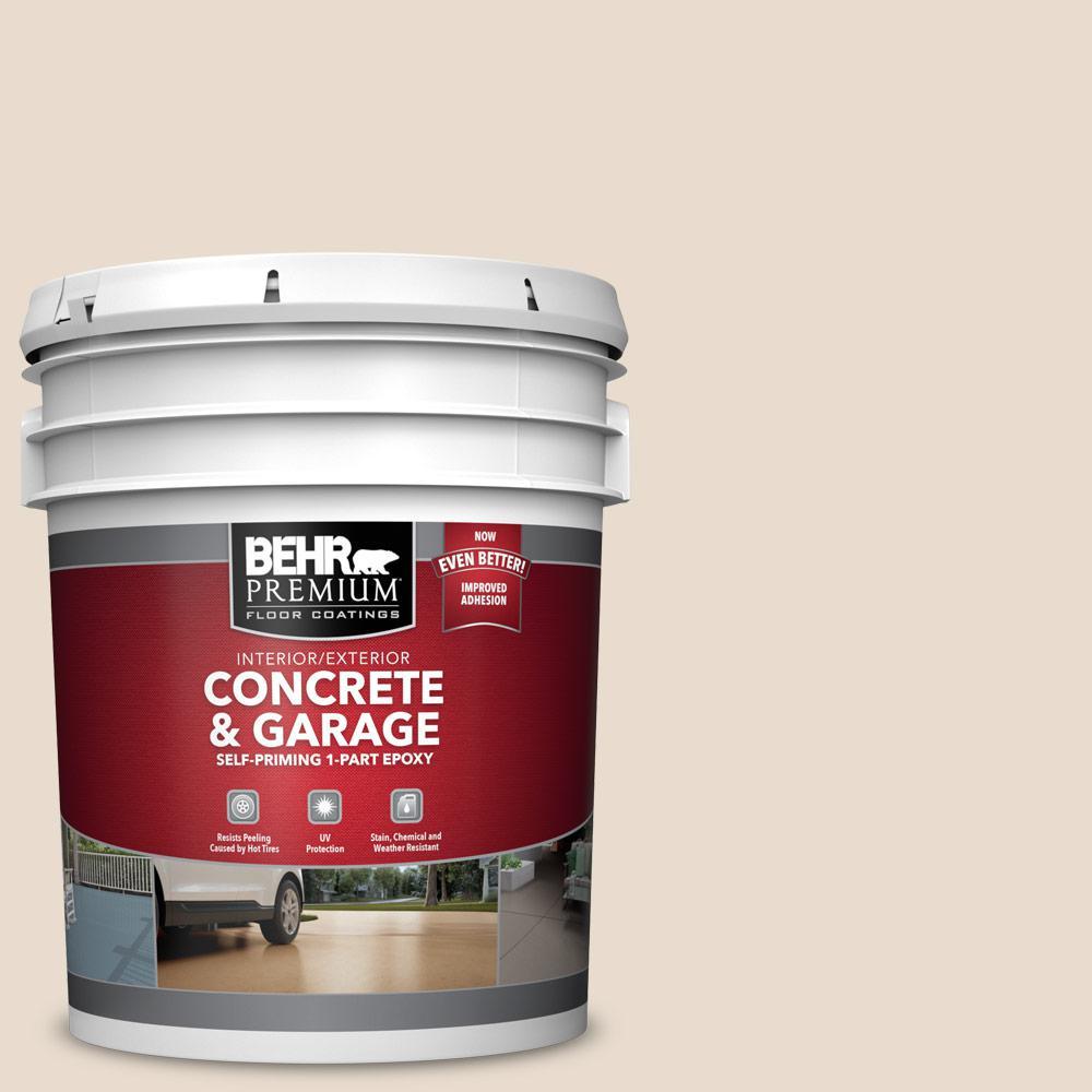 BEHR PREMIUM 5 gal. #OR-W11 White Mocha Self-Priming 1-Part Epoxy Satin Interior/Exterior Concrete and Garage Floor Paint