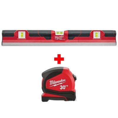 24 in. Concrete Screed Level with 30 ft. Compact Tape Measure