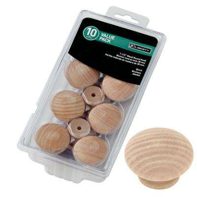 Classic 1-1/2 in. (38mm) Birch Wood Round Cabinet Knob (10-Pack)