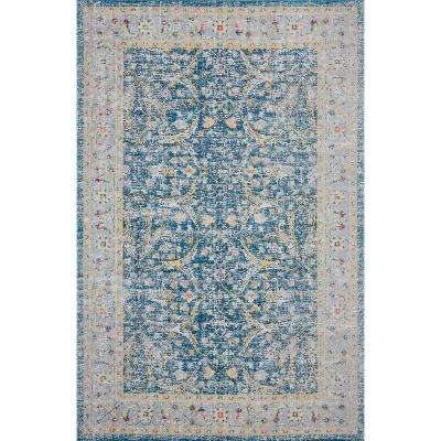 Antiquity Blue / Yellow 7 ft. 9 in. x 9 ft. 9 in. Distressed Persian Bordered Indoor/Outdoor Area Rug