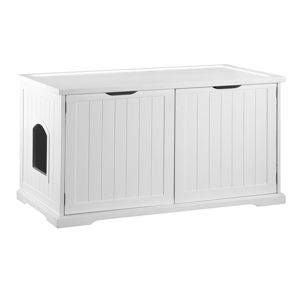 White Cat Washroom Bench Litter Box Cover