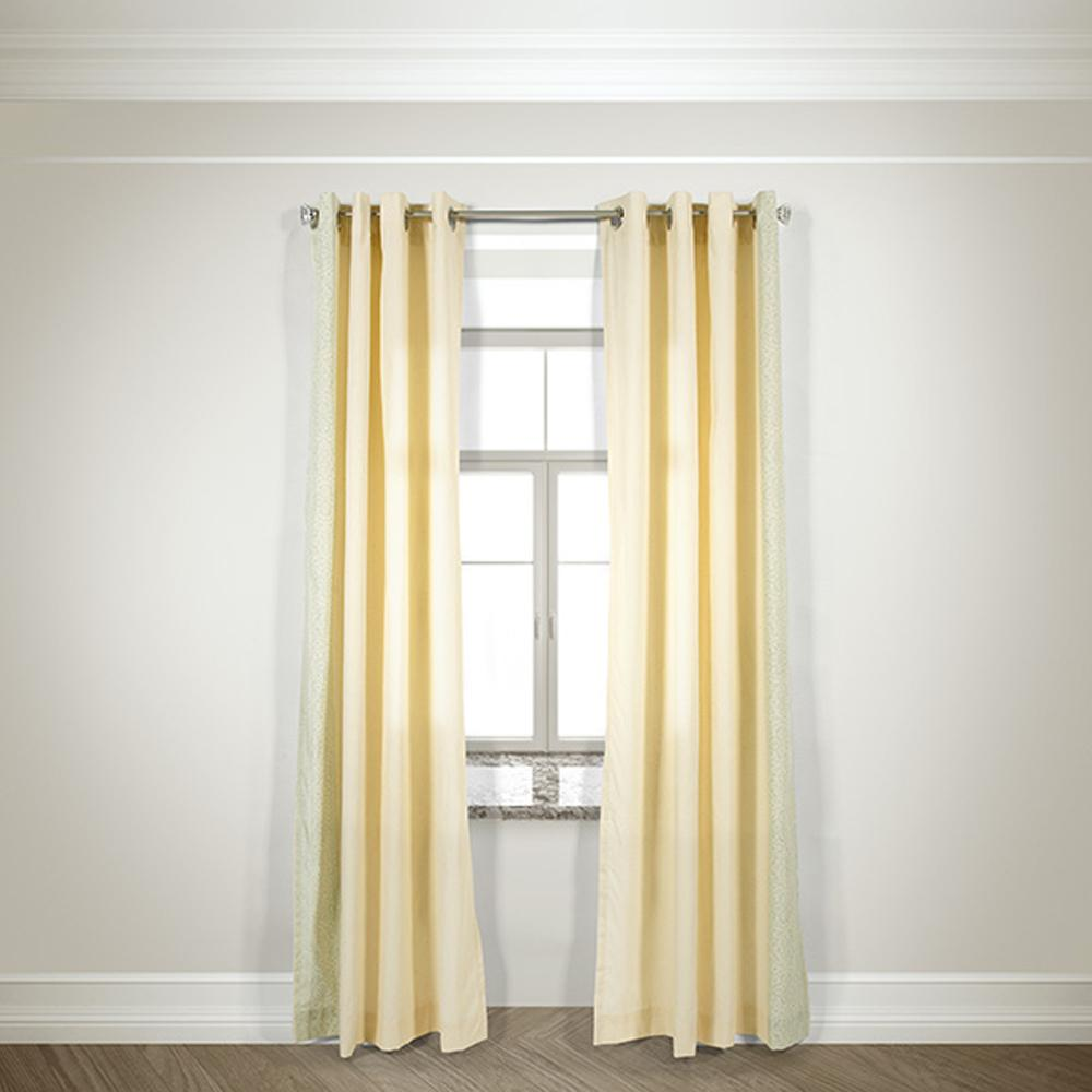 Winston Porter Simpson Nature Floral Semi Sheer Grommet: LR Resources Semi-Opaque Glamour Printed Brd Ivory Cotton And Polyester Half Panama Curtain