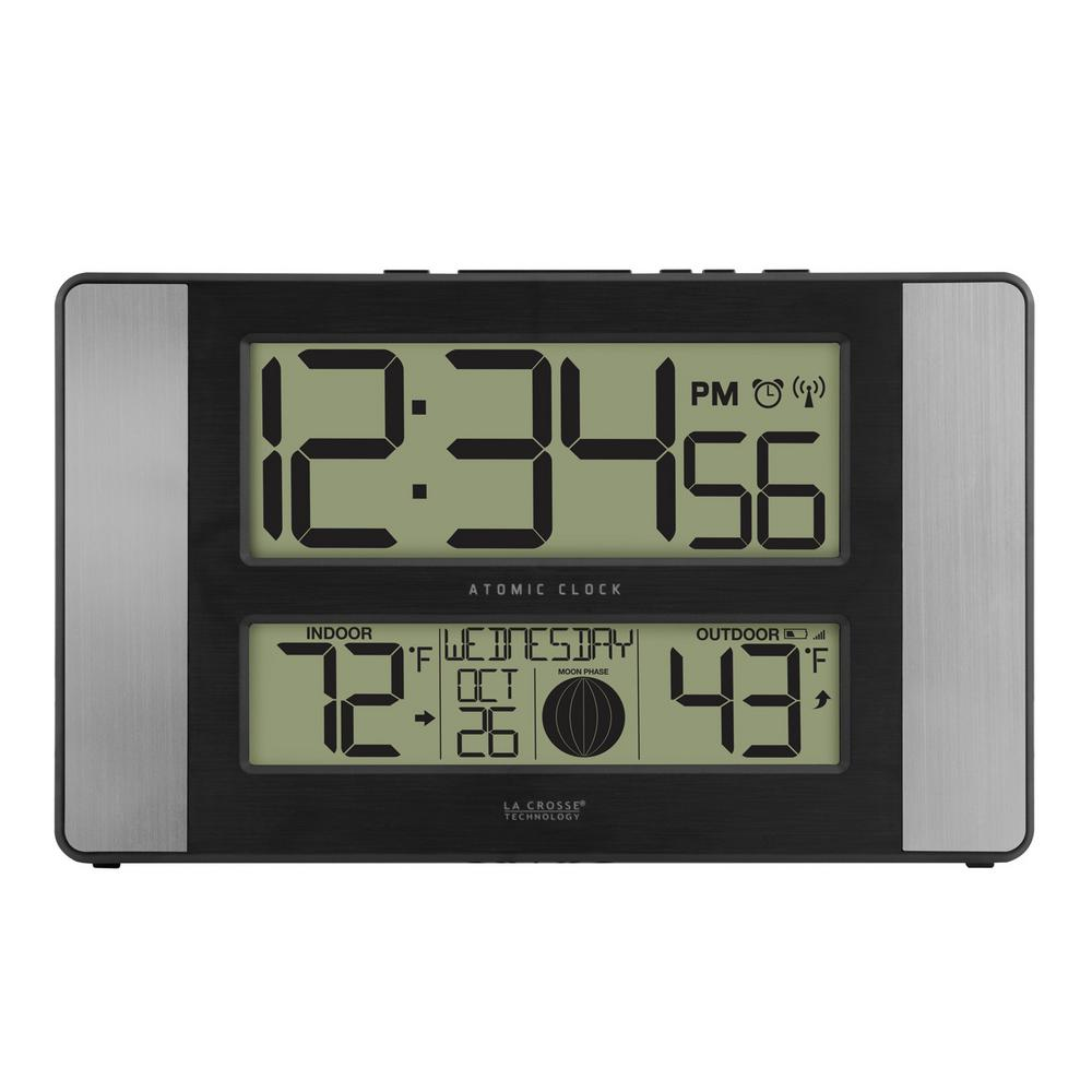 La Crosse Technology 11 In X 7 Atomic Digital Clock With Temperature Moon Phase Oak 513 1417 The Home Depot