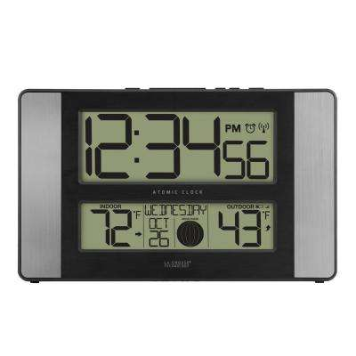 11 in. x 7 in. Atomic Digital Clock with Temperature and Moon Phase in Aluminum