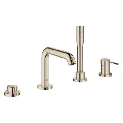 Essence 2-Handle Deck-Mount Roman Tub Faucet with Hand Shower in Polished Nickel