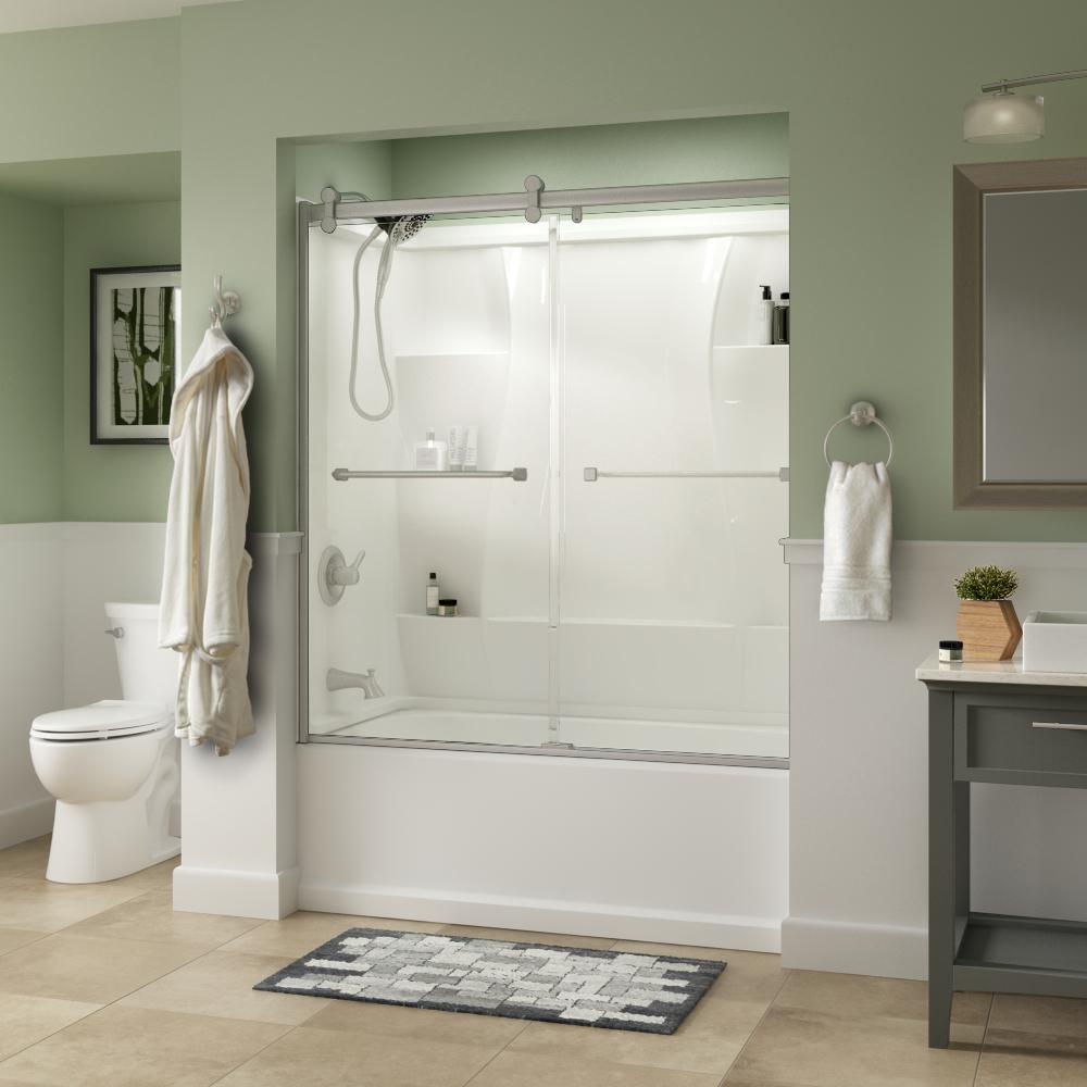 Delta Delta Everly 60 x 58-3/4 in. Frameless Contemporary Sliding Bathtub Door in Nickel with Clear Glass