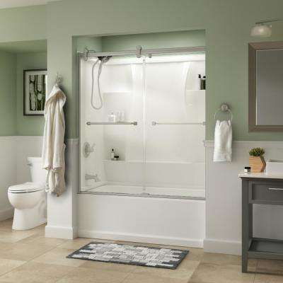 Everly 60 in. x 58-3/4 in. Semi-Frameless Contemporary Sliding Tub Door in Nickel with Clear Glass
