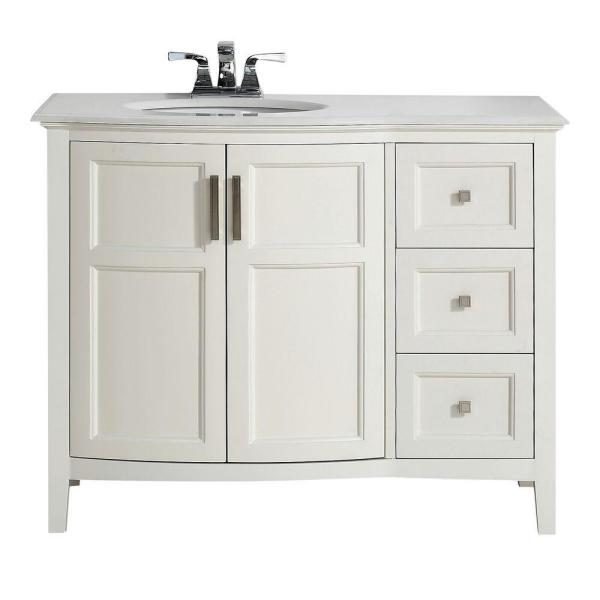 Brooklyn Max Wilshire 42 In Bath Vanity In Pure White With Engineered Quartz Marble Vanity Top In Bombay White With White Basin Bmvrwinrfw 42 The Home Depot