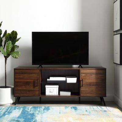 Dark Walnut 2 Door Tv Console