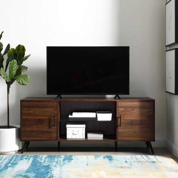 60 In. Dark Walnut 2 Door TV Console. By Walker Edison Furniture Company