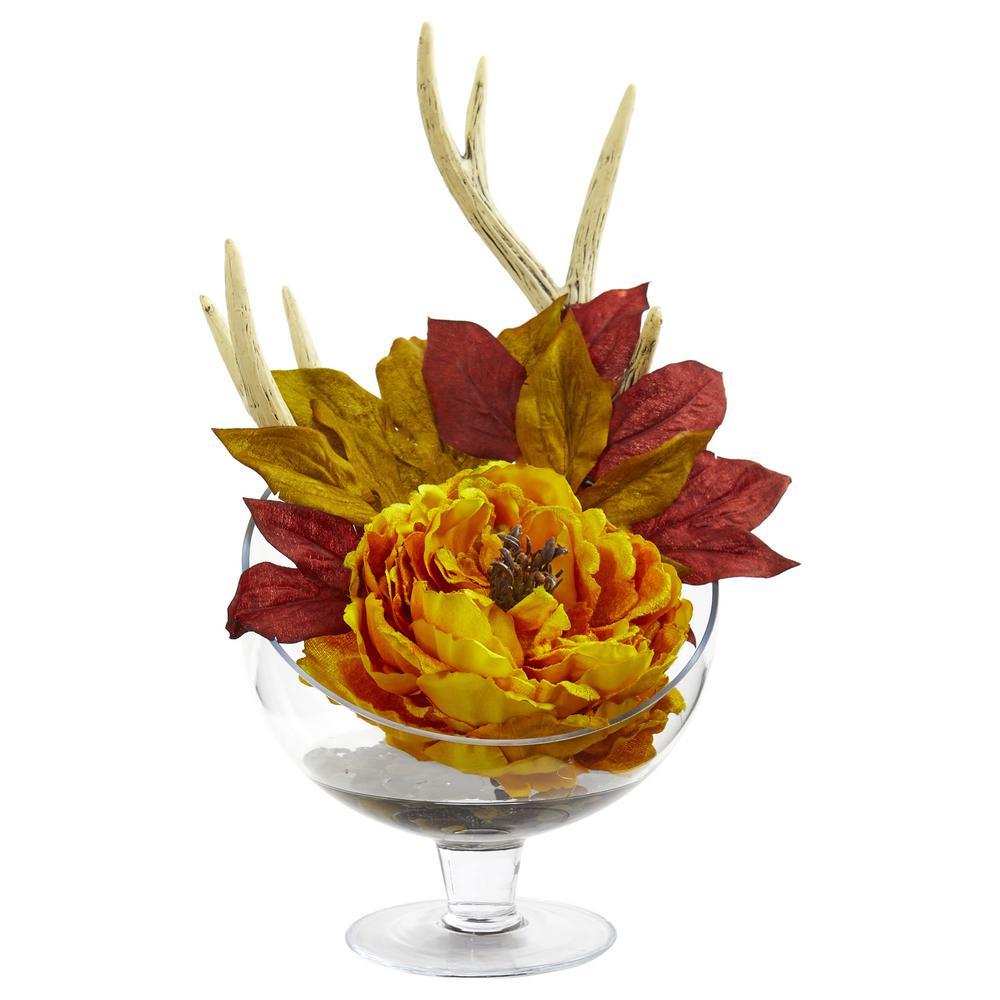 Nearly Natural Indoor Peony Artificial Arrangement in Pedestal Glass Vase