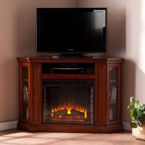 Southern Enterprises Carter 48 inch Convertible Media Electric Fireplace in Brown Mahogany by Southern Enterprises