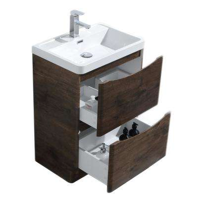 Smile 24 in. W x 16 in. D x 33.5 in. H Vanity in White with Acrylic Vanity Top in Rosewood with White Basin