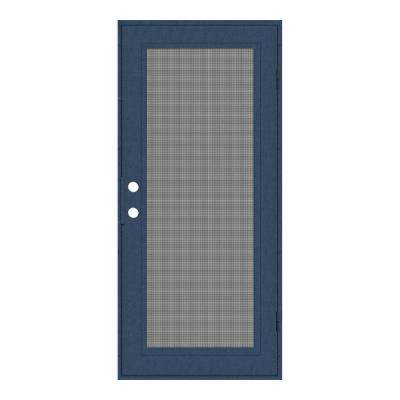 30 in. x 80 in. Full View Blue Hammertone Right-Hand Surface Mount Security Door with Meshtec Screen