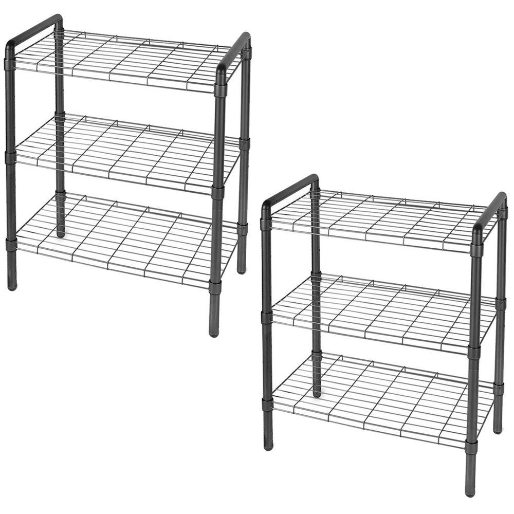 The Art of Storage 23 in. 3-Tier Black Quick Rack Adjustable Wire Shelving Organizer (2-Pack)