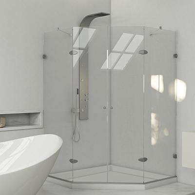 Gemini 47.625 in. x 76.75 in. Neo-Angle Shower Enclosure in Brushed Nickel with Clear Glass and Low-Profile Base