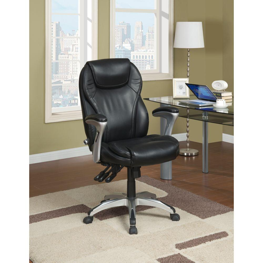 Serta Black Bonded Leather Executive Office Chair, Black/...