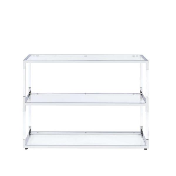 ACME Furniture Raegan Chrome, Acrylic and Clear Glass Console Table