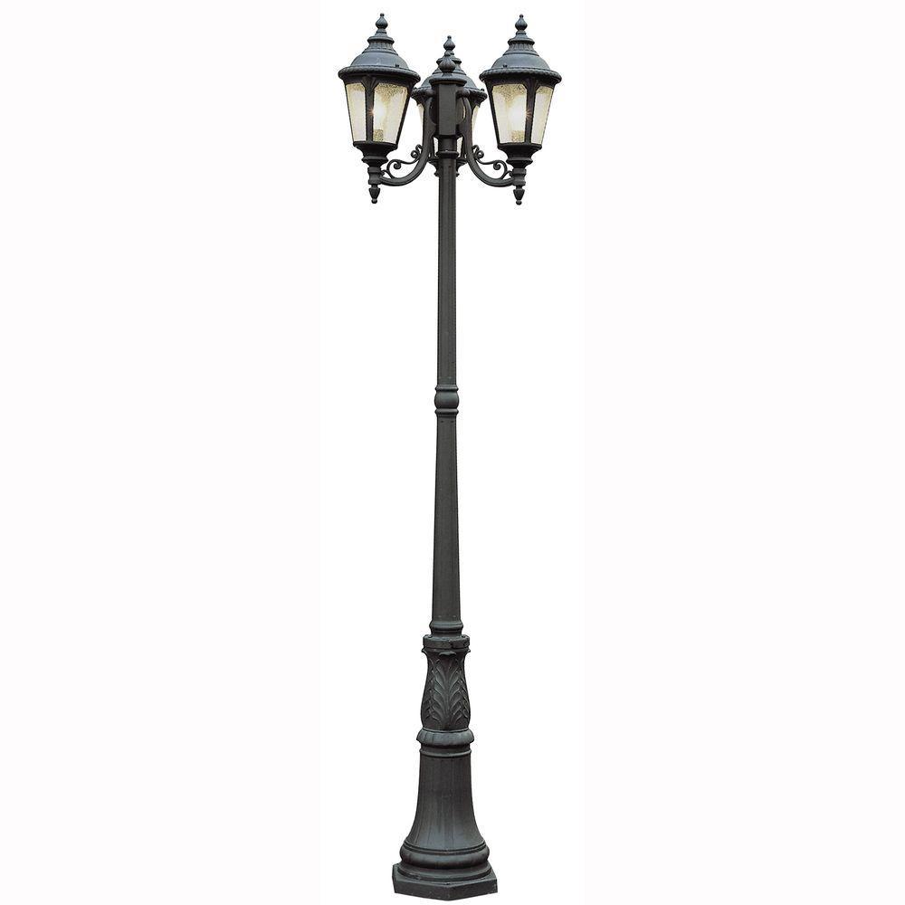 Bel Air Lighting Breeze Way 3 Light Outdoor Black Post Lantern With Seeded Gl