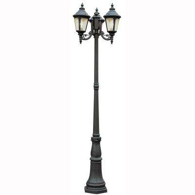 Breeze Way 3-Light Outdoor Black Post Lantern with Seeded Glass