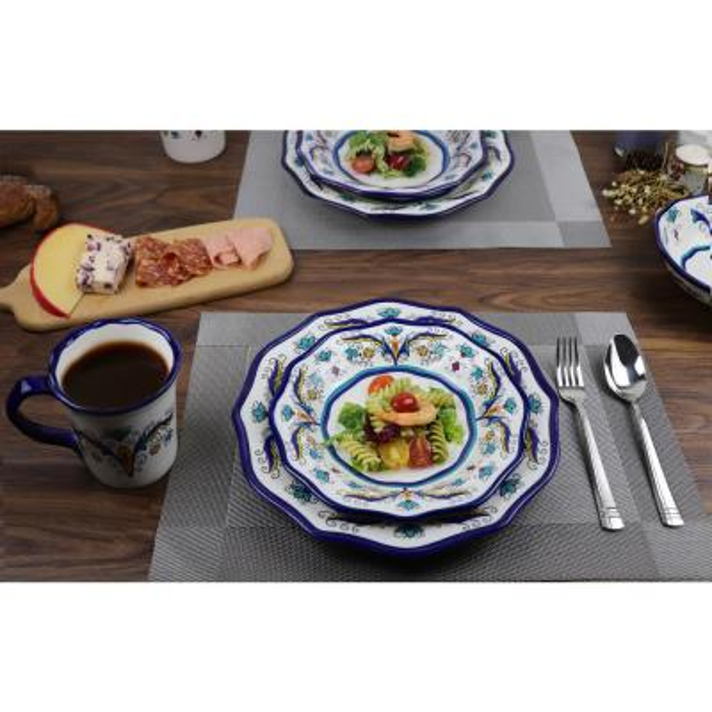 Samana Collection 16-Piece Euro Style Wavy Edge Stoneware Set by Lorren Home
