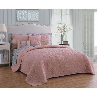 Melbourne 9-Piece Blush/Grey King Quilt Set