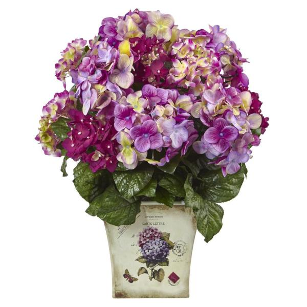 Nearly Natural Blue, Purple, White Hydrangea with Floral Planter 1378-BU