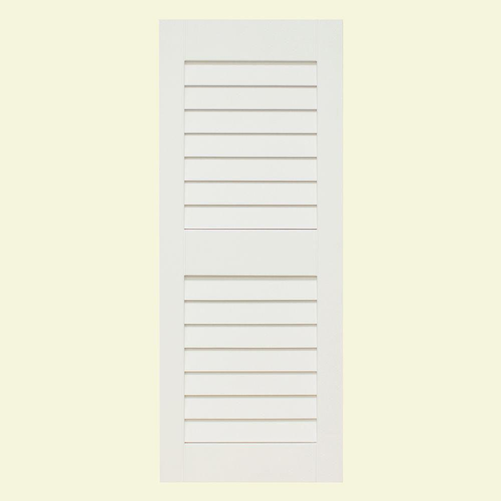 null Plantation 14 in. x 59 in. Solid Wood Louver Exterior Shutters 4 Pair Primed-DISCONTINUED