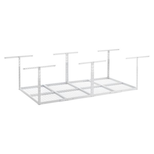 GearLoft 48 in. W x 23 in. - 37 in. H x 96 in. L Overhead Garage Storage Rack in Hammered White