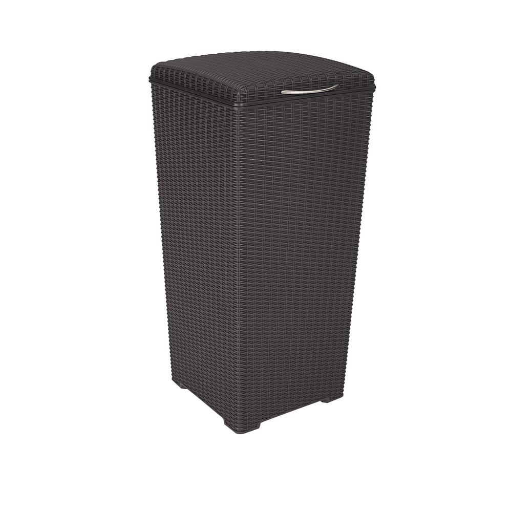 Attirant Brown Wicker Style Plastic Trash Can